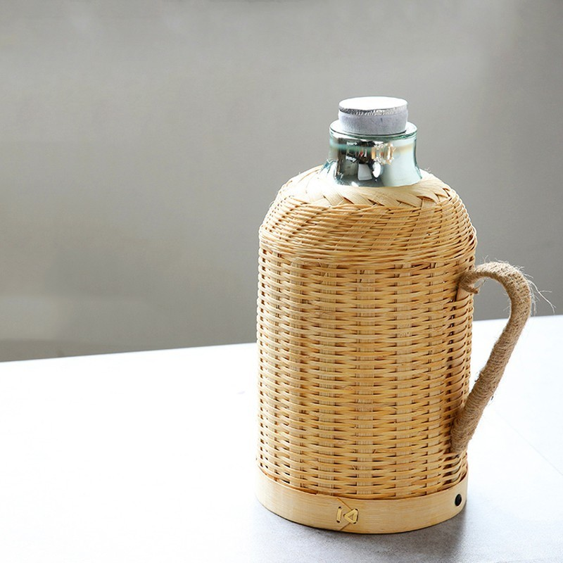 Handmade Bamboo Weaving Thermos Pot Bottle For Water With Cork Lid Cover And Handgrip Vacuum Flask Keep Warm Glass Inner Large