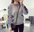 Women new fashion Spring Autumn Winter O Neck Pullover Knitted stitching Sequins Sweaters s124