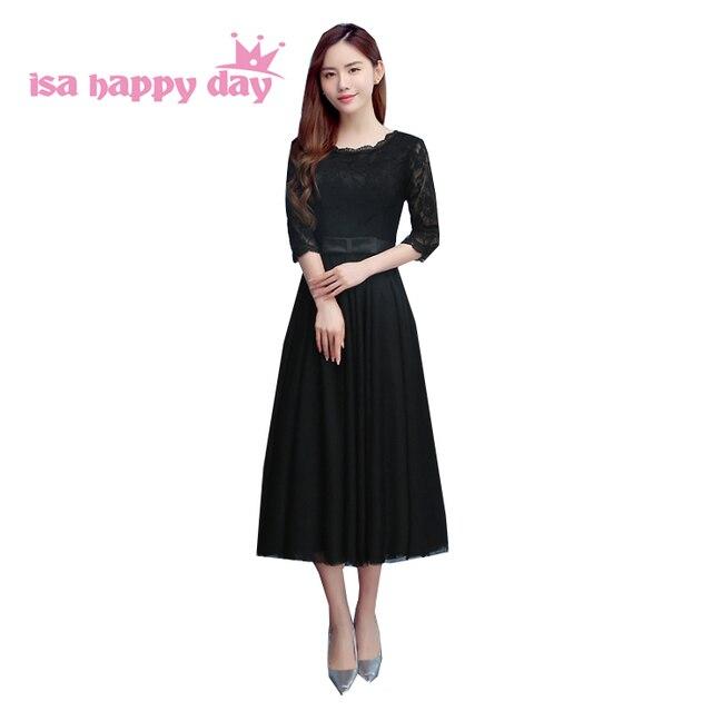 a5d8c112e قصيرة الأسود الشاي طول فساتين النساء متواضعة وصيفه الشرف المألوف اللباس  الصدر الكرة ثوب أكمام مع