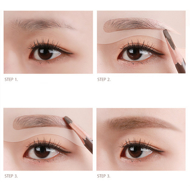 NEW 2019 24Pcs Eyebrow Make Up Stencils Set Eye Brow Drawing Guide Styling Shaping Grooming Reusable Template Card Makeup Tool 3