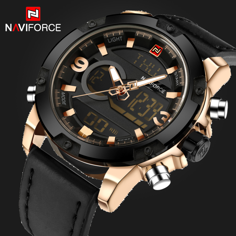 Luxury Brand NAVIFORCE Fashion Men's Quartz Analog Watches Men Sports Clock Leather Army Military Wrist Watch Relogio Masculino weide new men quartz casual watch army military sports watch waterproof back light men watches alarm clock multiple time zone