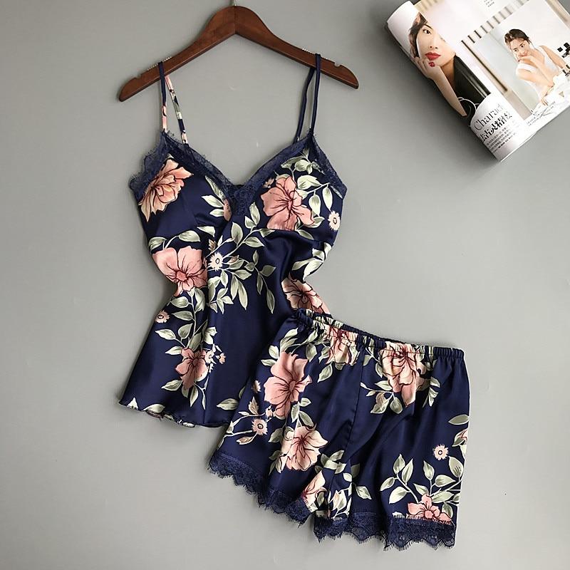 Spaghetti strap female summer   pajamas   sleep lounge   pajamas     set   V-neck sexy satin sleepwear with chest pad