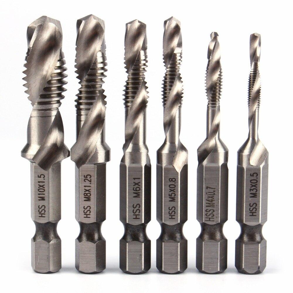 Pack of 5 Spiral Point Twist Drill HSS Spiral Screw Thread Drill Bit Woodworking Hole Bits