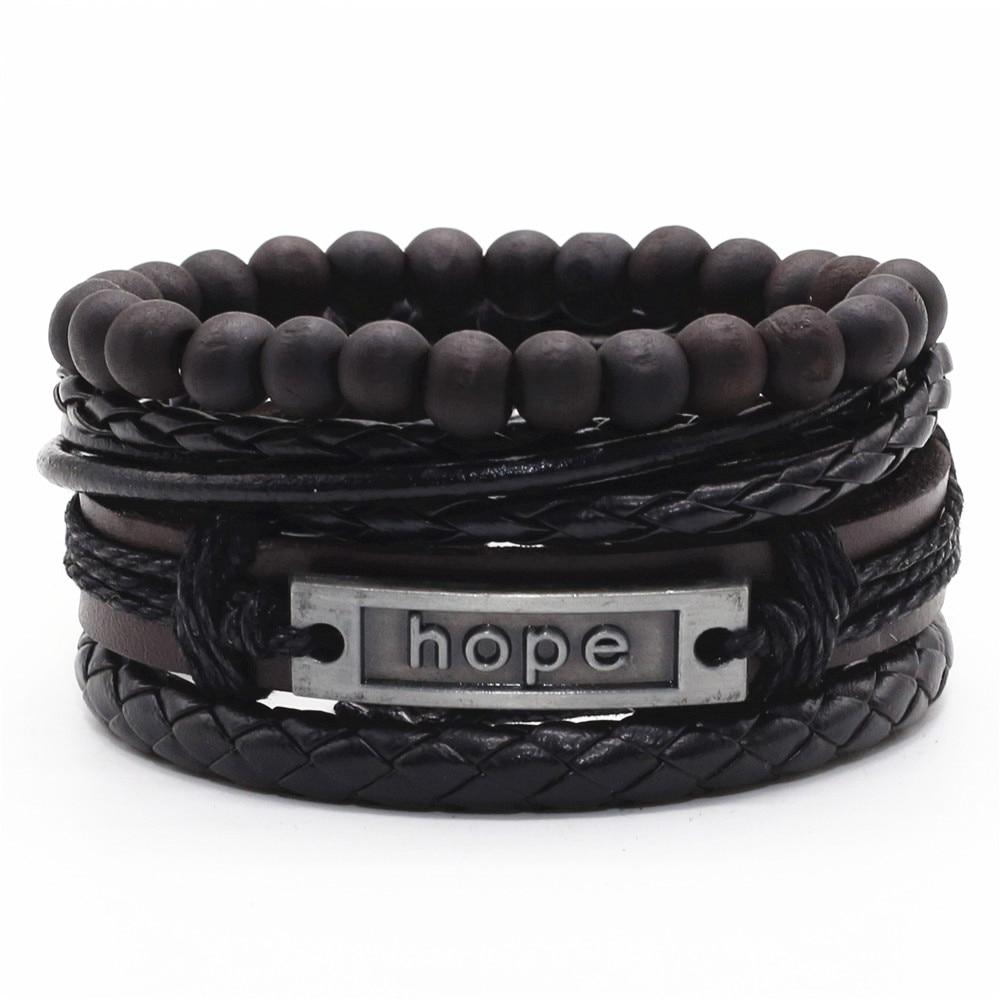 Hope Black Beaded Believe Wrap Handmade Woven Men Leather Bracelets Women Vintage Bangle Male Homme Jewelry Accessories