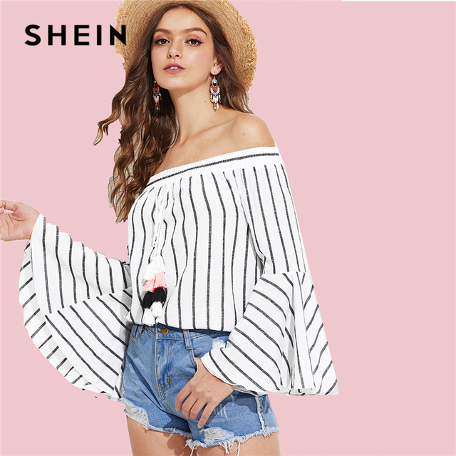 d09506e57a SHEIN Black and White Vacation Boho Bohemian Beach Tassel Bell Sleeve  Striped Off Shoulder Blouse Summer Women Casual Shirt Top