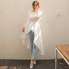 2020 Elegant Long White Shirts Women V-neck Lace Up Slim Wai