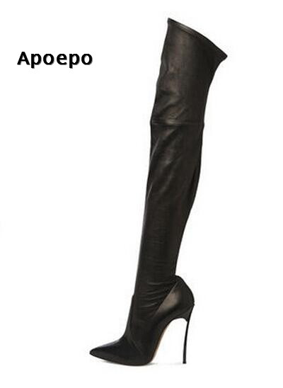 Apoepo over the knee boots sexy pointed toe stretch fabric thigh high boots for woman 2018 thin heels long boots woman shoes