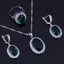 Charming Oval Egg Green Cubic Zirconia White CZ 925 Sterling Silver Jewelry Sets For Women Earrings Pendant Chain Ring V0285