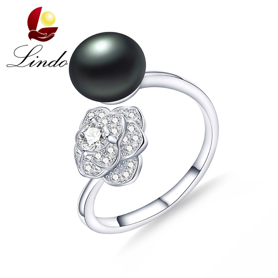 Lindo Women Adjustable 925 Sterling Silver Wedding Ring Fashion 5A Natural Freshwater Pearl Jewelry Flower Rings With Box 9-10mm