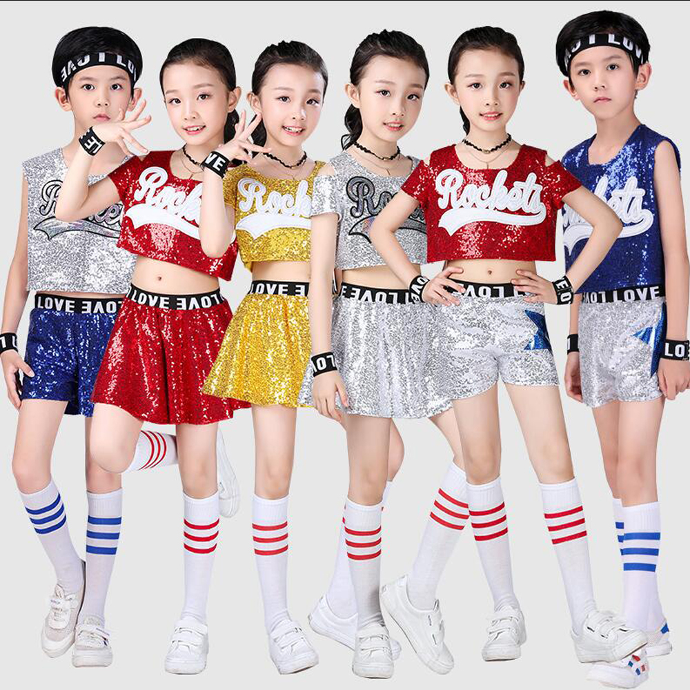 Girls Boys Sequined Ballroom Jazz Hip Hop Dance Competition Costumes Shirt Tops Pants Kid Cheerleaders Dancing Suit Wear Outfits