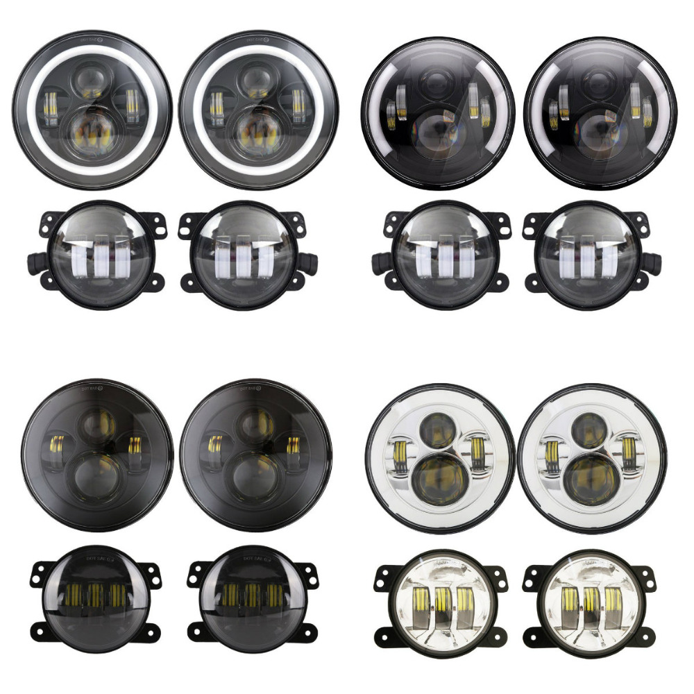 2PCS 7inch Motorcycle Round LED Headlight + 2PCS X 30W 4inch LED Fog Light for Jeep Harley Davidson Road King 2 pcs led headlight led offroad lights 7inch 40w 30w high low beam for harley davidson motorcycle jeep suv