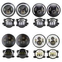 2PCS 7inch Motorcycle Round LED Headlight + 2PCS X 30W 4inch LED Fog Light for Jeep Wrangler TJ JK LJ Hummer