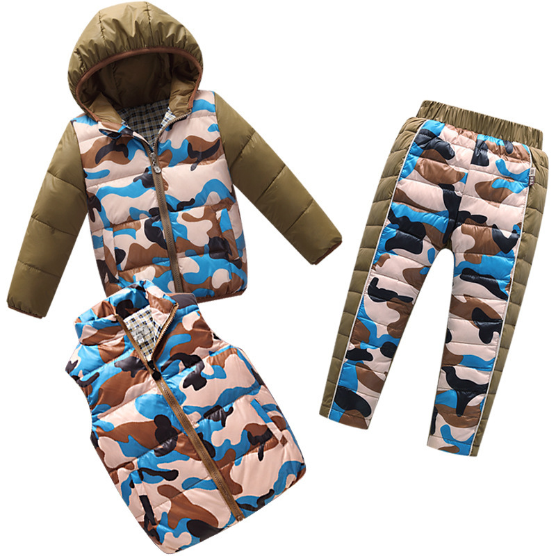 New 2018 Boy Set Winter Down Jackets Suits Warm Down Coat Set Children Outerwear 3Pcs Sets(Coat+Vest+Pants) Girls Down Clothing