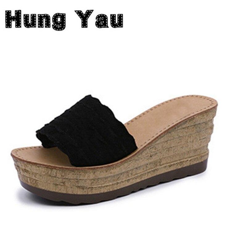 Hung Yau Women Shoes Slip on Peep Toe Summer Style Ladies Cork Gladiator Wedge Sandals Female Platform Sandals Shoes Flats Size8