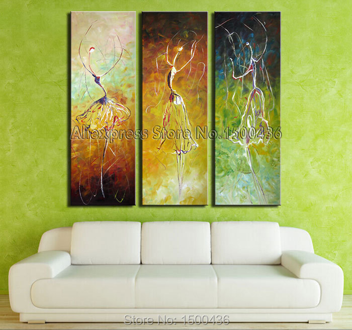 Hand Painted Abstract Ballet Dancers Oil Painting On Canvas 3 Piece ...