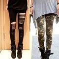 Nuevo 2016 Otoño Mujeres de la Alta Cintura Del Estiramiento Flaco Legging Camuflaje Pirnt Agujeros Rasgados Leggings Slim Fit ropa de Entrenamiento Pantalones Casuales