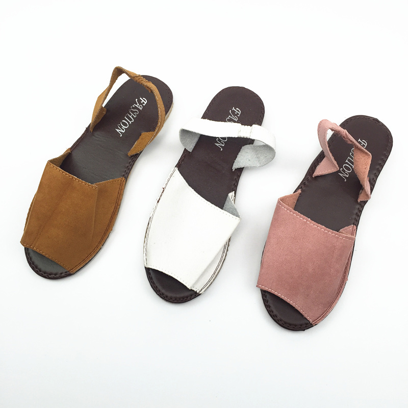 HTB1oyMYHkSWBuNjSszdq6zeSpXaa MCCKLE Summer Sandals Women Plus Size Flats Female Casual Peep Toe Shoes Faux Suede Slip On Elastic Band Leisure Solid Footwear