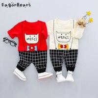 赤ちゃんカジュアル男の子服セット新しい春秋モデル韓国猫の子供の綿長袖シャツ+パンツ服セッ