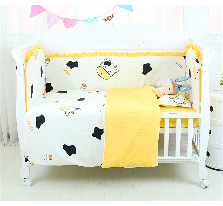5Pcs Baby Bed Bumpers Set 100% Cotton Infant Crib Bedding Set Detachable And Washable Baby Cot Protector Bed Linens 19 Colors
