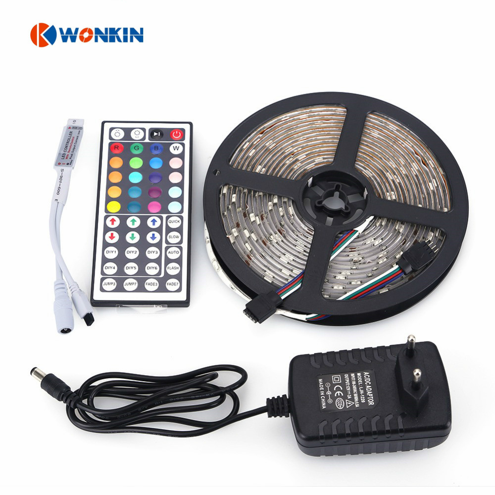 5M ONE ROLL 150LEDs  SMD RGB LED Strip 5050 Waterproof +44Key Remote Controller + 12V 2A Power Adapter jrled 36w 2300lm 150 smd 5050 led rgb light strip w 24 key controller 12v 5m