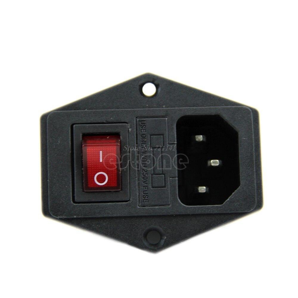 1 шт. Черный Красный AC 250V 10A 3 Клеммная розетка с держателем предохранителя