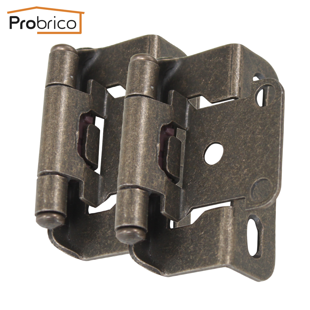 Probrico 4 Pair Self Close Kitchen Cabinet Hinge Antique Bronze CH196AB Partial Wrap 1/2-Inch Overlay Furniture Cupboard Hinge probrico self close kitchen cabinet hinge brushed nickel ch199bsn partial wrap 1 4 inch overlay furniture cupboard hinge