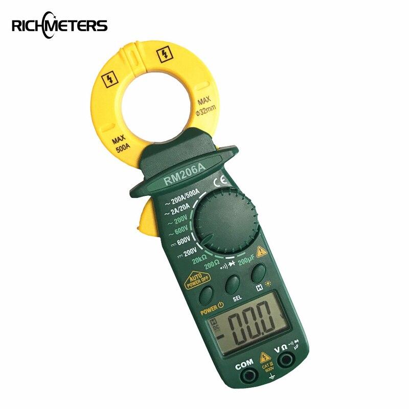 RICHMETERS RM206A Digital Clamp Meter Multimeter 1999 counts Backlight AC/DC Ammeter Voltmeter Ohm Electronic Portable  Meter orange plastic case digital lcd voltmeter ammeter ohm meter multimeter lead