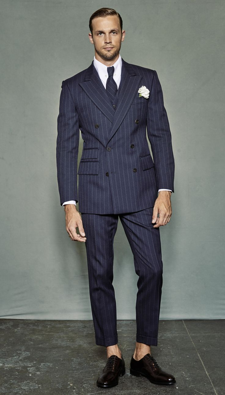 Italian Style Navy Blue Groom Tuxedos Stripe Mens Wedding ...