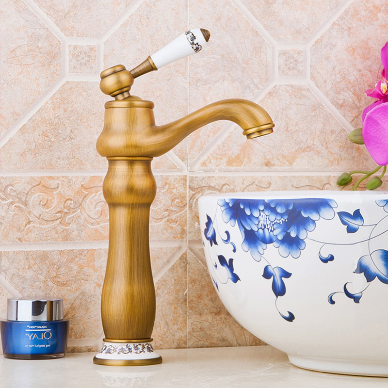 ᐊBasin Faucet Antique Washbasin Taps Single Ceramic Design Handle ...