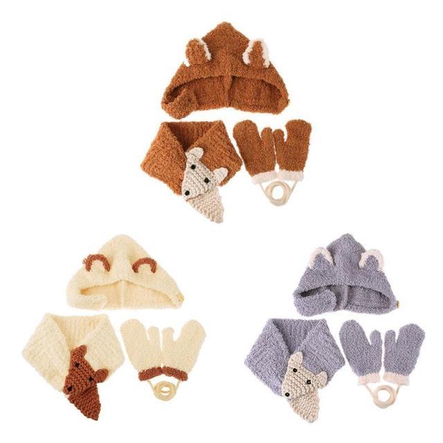 3 unids/set lindo niños niñas Cartoon Animal patrón guantes bufanda ...