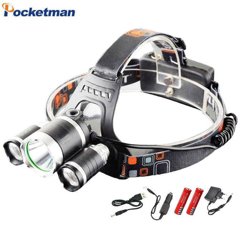 Faróis de LED Farol 9000 lumens farol xml t6 Lanterna 4 modo à prova d' água da tocha cabeça 18650 Bateria Recarregável Mais Novo