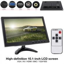 10.1 Inch HD IPS TFT LCD Car Monitor Mini TV Computer 2 Channel Video Input Security Monitor with Speaker AV BNC VGA HDMI