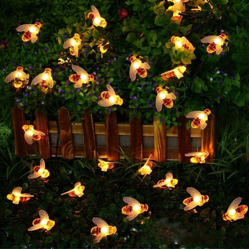 10/20 LEDs Bee String Lights Outdoor Battery  Power LED Strings Waterproof Garden Patio Fence Gazebo Summer Night Light