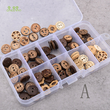 Chainho,100pcs/Box,Multi-pattern RoundTwo-holes Wooden Buttons,ForDIY Scrapbooking Patchwork Sewing/Crafts&Home Decoration,WB032
