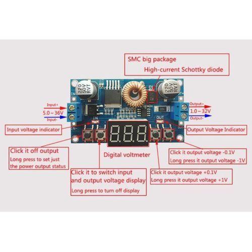 5A Digital Control DC Step-down Voltage Regulated Power Supply Converter  Buck Module 5-36V 24v to 1.2-32V 12v 5v 9v 19V  5A Digital Control DC Step-down Voltage Regulated Power Supply Converter  Buck Module 5-36V 24v to 1.2-32V 12v 5v 9v 19V
