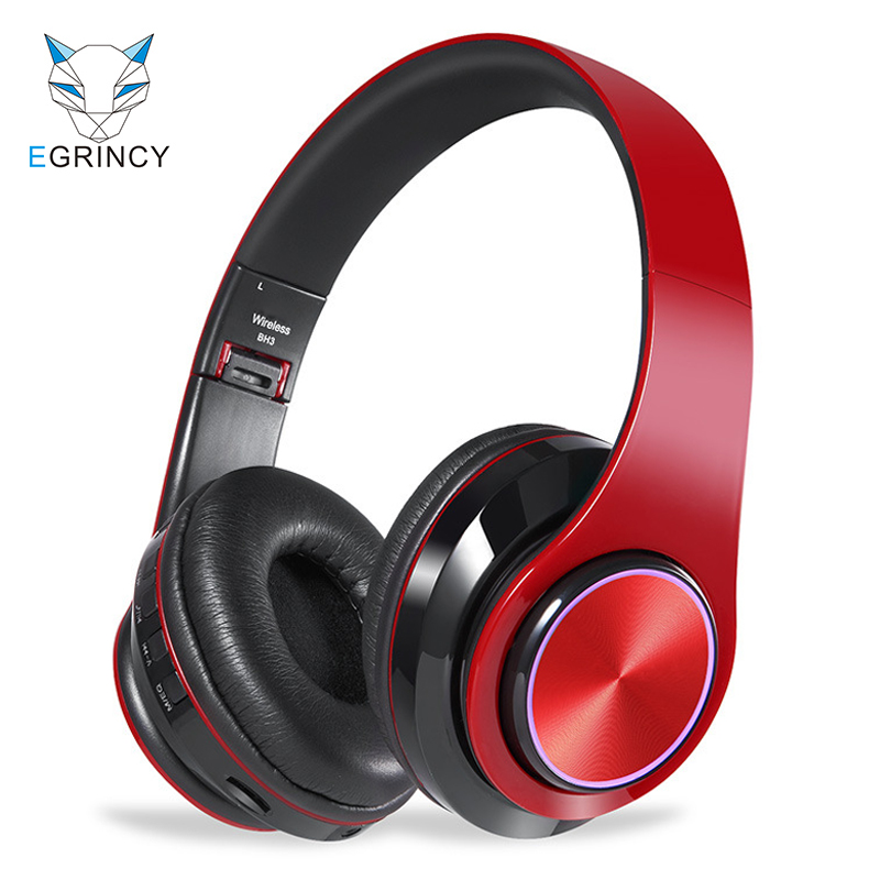 EGRINCY BH3 Bluetooth 4.1 Headphone With MIC HIFI Stereo Wireless Headset Support TF Card 3.5mm Wired With LED Light For Phone hifi deep bass wireless stereo bluetooth headphone noise cancelling headset with mic support tf card fm radio