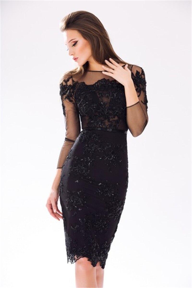 63693eeeb 2015 Sexy Lujo Negro Vestido de Cóctel Corto Illision Mujeres Vestidos  Formales