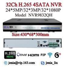 2016 Newest 5MP 3MP 1080P NVR H.265 h.264 Community Video Recorder 32 channel Alarm Audio 4SATA  for cctv IP surveillance system