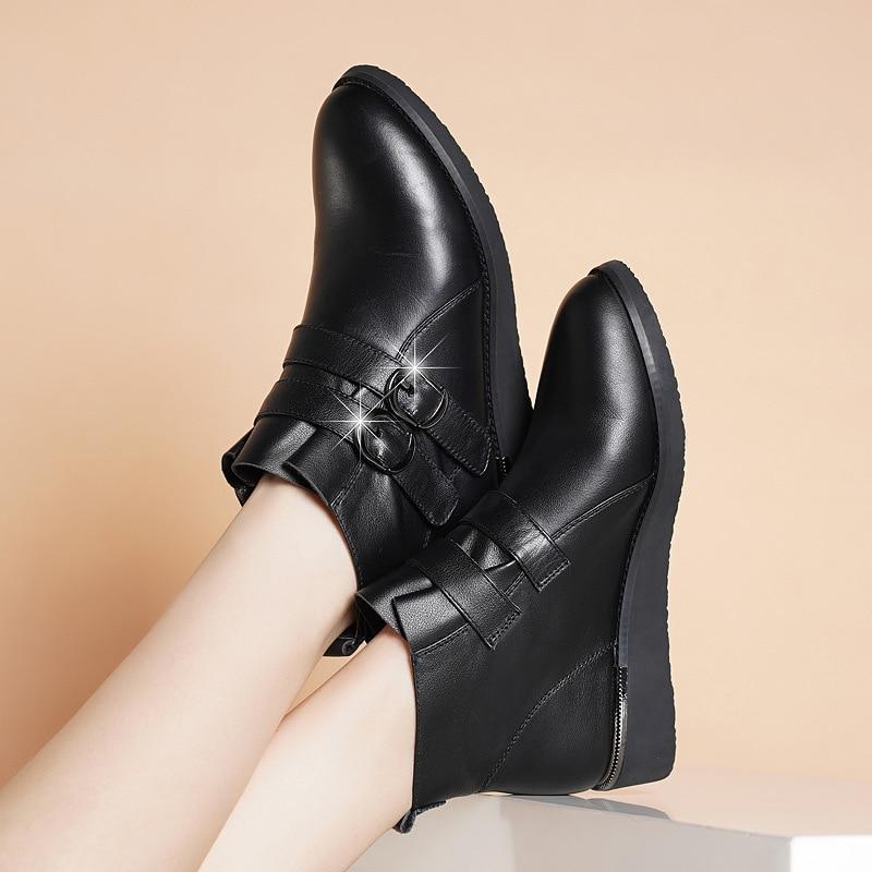Pour Toe Fsj Amande Decration En Métal Doux Bottines Fond Talons Véritable Printemps Chaussures Épais Cuir Fsj01 Noir Plat Femme Professionnelles fsj02 vnNwm80O
