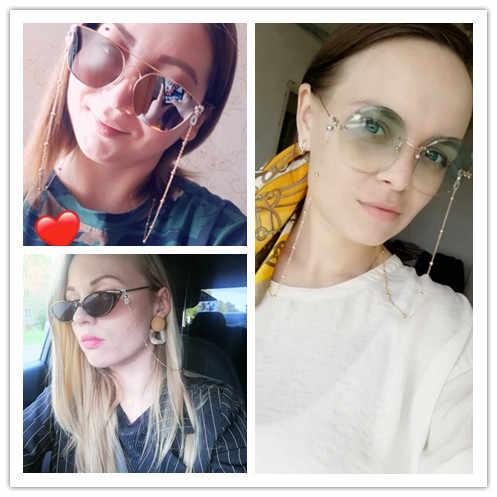 Kobiety łańcuszek do okularów złoto srebro kolorowe okulary przeciwsłoneczne zroszony okulary okulary łańcuszek okulary uchwyt na przewód smycz na szyję lina