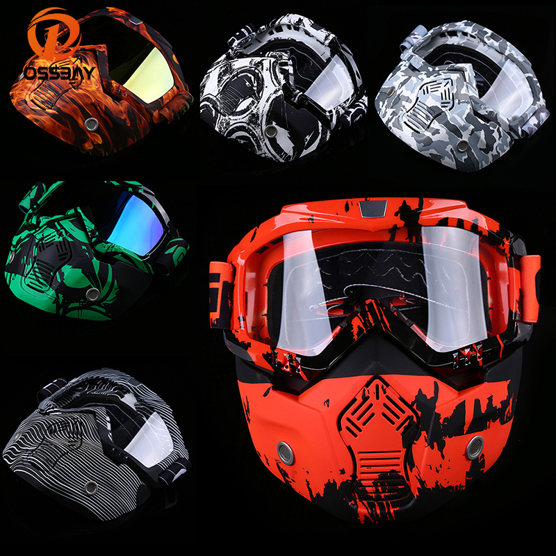 POSSBAY 20Types Motorcycle Face Mask Goggles Motorbike Open Face Detachable Goggle Helmets Mouth Filter Scooter Glasses image