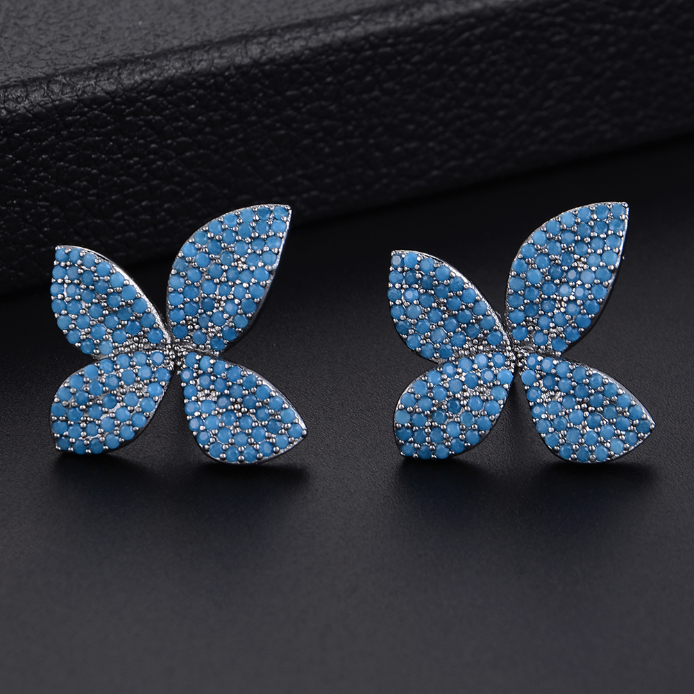 Cute Multicolors Flowers Shape Zirconia Stud Earrings For Bridal Engagement Earrings Jewelry