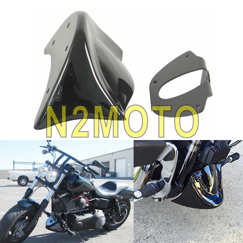 Glossy Black Front Spoiler Chin Fairing Cover Kit Compatible with 2006-2017 Harley Dyna FatBob Low Rider Street Bob Super Wide Glide