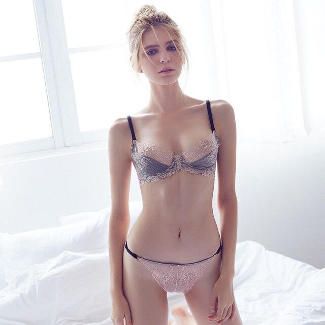 05f7fe00c0 Seven Wish Ultrathin lingerie set plus size bras B C D cup sexy lace bra set  transparent women underwear Double lace embroidery