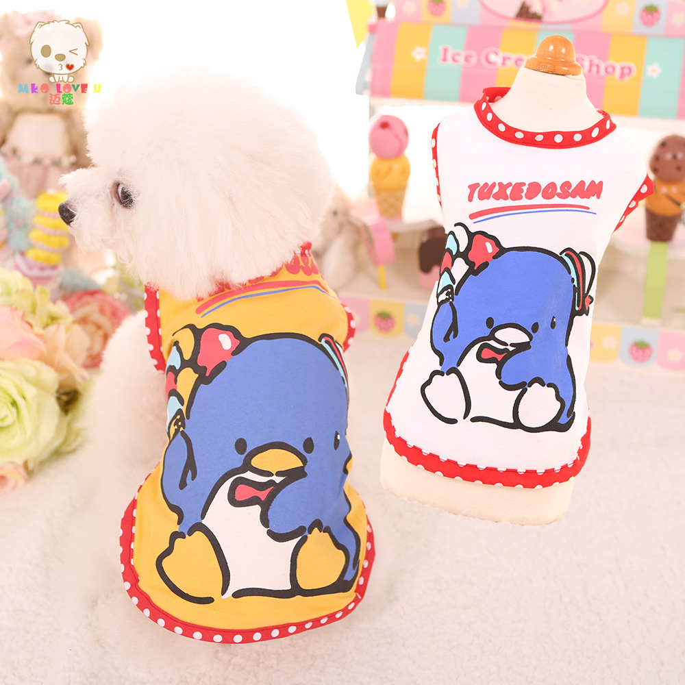 Hot Sale!!! Penguin Eating Icecream Fashion Dog Cat Cute T-shirt Puggy Costumes
