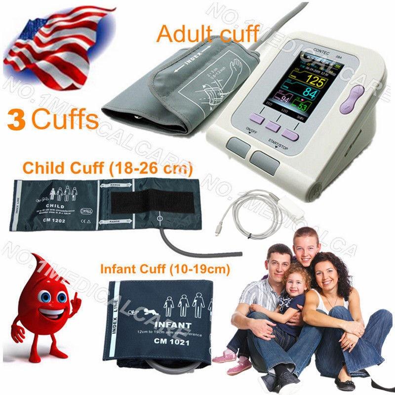CE Digital Blood Pressure Monitor 08A+4 CUFFS Infant Pediatrics/Child/Adult Cuffs+SP02 contec deja review pediatrics