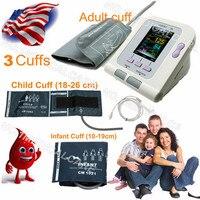 CE Digital Blood Pressure Monitor 08A+4 CUFFS Infant Pediatrics/Child/Adult Cuffs+SP02 contec