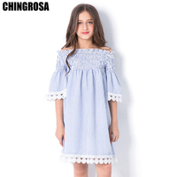 4e5ceaa22d CHINGROSA Blue Striped Printed Lace Shoulderless Girls Dresses Beach Dress  Casual Summer Dresses Kids Clothing vestidos