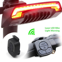 X5 Smart Rear Bicycle Light Bike Lamp Laser LED USB Rechargeable Remote Control Cycling Turning Tail