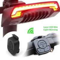 X5 Thông Minh Phía Sau Light Xe Đạp Bike Đèn Laser LED USB Sạc Điều Khiển Từ Xa Đi Xe Đạp Quay Đuôi Bycicle Ánh Sáng